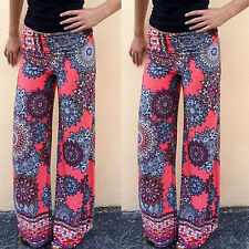 Lady Sexy Retro Floral Casual High Waist Wide Leg Long Pants Palazzo Trousers AK