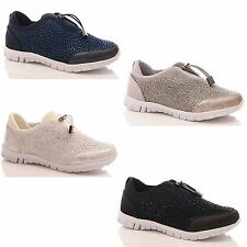 LADIES WOMENS TRAINERS GYM GO CASUAL DIAMANTE WALK FITNESS TOGGLE SHOES SIZE