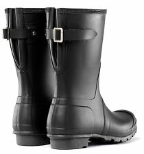 HUNTER ORIGINAL SHORT BACK ADJUSTABLE BLACK  RAIN BOOTS WOMEN WFS1013RMA