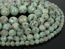 Natural Kiwi Stone Gemstones Faceted Round Beads 15.5'' 4mm 6mm 8mm 10mm 12mm