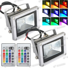 2X10W RGB LED Flood Light Color Spotlight Outdoor Garden Lamp Waterproof+Remote