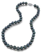 14K Gold 7.5-8.0mm Japanese Akoya Black Cultured Pearl Necklace - AAA Quality