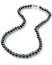 14K Gold 6.0-6.5mm Japanese Akoya Black Cultured Pearl Necklace - AAA Quality
