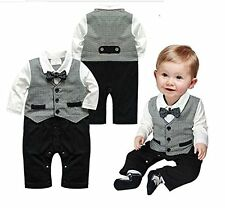 Fashion Baby Boy Long Sleeve Bowtie Gray Vest Tuxedo Romper Onesie Outfit Set