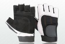 WEIGHT LIFTING PADDED LEATHER GLOVES FITNESS EXERCISE TRAINING CYCLING GYM