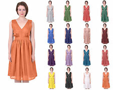 MARYCRAFTS WOMENS PURE SILK VINTAGE TEA FLARED SKIRT SLEEVELESS DRESS SUNDRESS