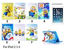 NEW Despicable Minion PU Leather Flip Stand Cover Case for Apple ipad 2 3 4