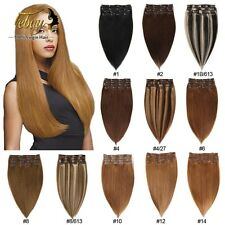 """15""""18""""20""""22""""24""""26""""28"""" 7Pcs/Set Clip In Remy Extensions 100% Human Hair Full Head"""