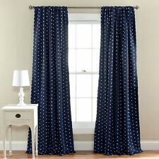 Blackout Window Curtains 2 Panels Poka-Dots Thermal Insulated 3 Inch Rod Pocket