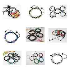 Wholesale Lot 10 Adjustable Shamballa Bracelets - Pick Pearl Glass Crystal Bead