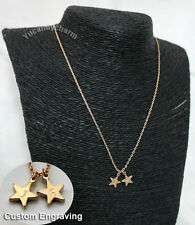 Personalized Custom Initial Engraving Stamped Gold Plated Star Charms Necklace
