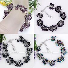Crystal Glass Faceted Bead Link Chain Bracelet Adjustable Women Jewellery Gift