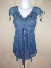 NWT PRETTY ANGEL VINTAGE BOHO EMBELLISHED TANK TOP TUNIC BLUE SZ S, M, L, XL
