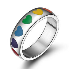 Rainbow Gay Lesbian Pride LGBT Love Heart Band Ring Stainless Steel Size 6-12