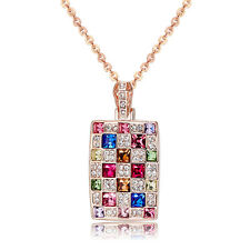 Mondaynoon Austrian Crystal Luxury Women Lady Pendant Necklace Gold Plated