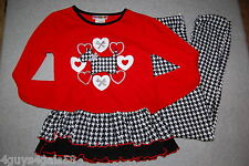 Girls Outfit RED BLACK WHITE Houndstooth RUFFLES Scotty Dog 4-5 6-6X 7-8