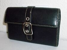 Coach Small Black Leather Buckle Flap Wallet