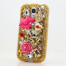 FOR SAMSUNG GALAXY S6 NOTE 5 CRYSTALS BLING CASE COVER GOLDEN KISS SKULL DESIGN