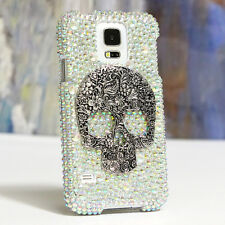 FOR SAMSUNG GALAXY S6 NOTE 5 CRYSTALS BLING CASE COVER LARGE SKULL AB DESIGN