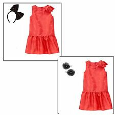 Gymboree Play by Heart Shiny Coral Dress & Hair Accessory 5 8 NWT Retail Store