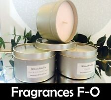 Scented Soy Wax Candle (Scents F-O) 100% Soy Wax - 43hr Burn Time - Window Tin