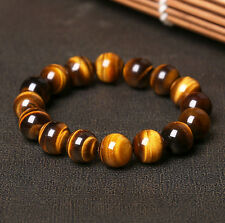 AAA+ Natural Tiger eye Stone Round Beads Stretchy Women&Men Bracelet Bangle