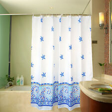 "71"" Cool Waterproof Polyester Sea Star Fish Wave White Bath Shower Curtain Hooks"