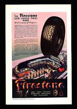 "ORIGINAL 1936 ""FIRESTONE"" HIGH SPEED TIRES  CENTURY OF PROGRESS  ART PRINT AD"