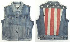 Ralph Lauren Denim Supply Distressed USA Flag Western Slim Jean Moto Jacket XL S