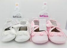 Baby Shoes Rosebud Girl Satin lace Ballet Soft Touch Cream Pink Christening
