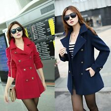 Fashion Women Winter Slim Fit Double-breasted Wool Trench Coat Outwear Jacket