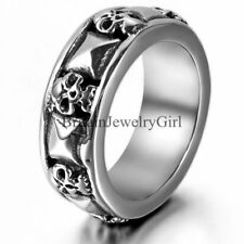 Fashion Men Unisex Skull and Pyramid Cast Band Stainless Steel Ring Size 7-13