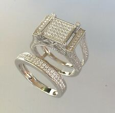 Genuine .925 sterling silver simulated diamond 2 piece engagement/wedding set
