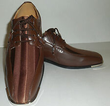 Expressions 4925 Mens Fancy Brown Silvertip Party Style Tuxedo Dress Shoes
