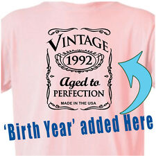 "BIRTHDAY OLD WESTERN Cowgirl PINK T-Shirt ""Vintage WESTERN STYLE"" ANY Year B Day"