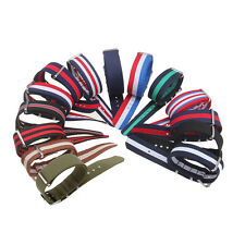 22mm Military Nylon Wrist Watch Band Strap With 3 Rings Stainless Steel Buckle