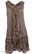Pretty Angel Clothes DHARMA TWO PIECE KNIT SHIRT DRESS IN BROWN S M L XL 62769