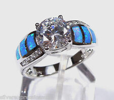 White Topaz & Blue Fire Opal Inlay Genuine 925 Sterling Silver Ring sz 6,7,8,9