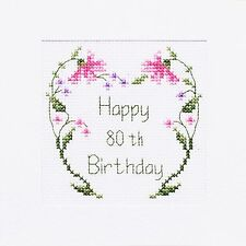 80th Birthday Card Shiny Flowers, Purple, Pink or Yellow ⭐️ Cross Stitch Kit B14