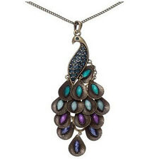 Charm Retro Bronze Vintage Peacock Enamel Rhinestone Pendant Long Necklace Chain