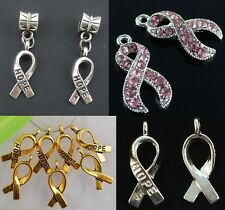 Silver Gold Crystal Pink Crystal Breast Cancer Hope Ribbon Charms Charm Bracelet