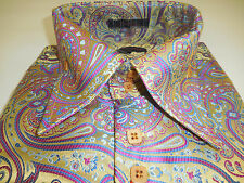 Mens Leonardi Tailored Look & Appeal Cuffed Shirt Edition 338 Beige Pink Paisley