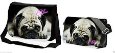 PERSONALISED GIRLS SCHOOL / COLLEGE MESSENGER BAG (PUG DOG)ANY NAME PRINTED FREE