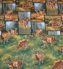 Great Whitetail Deer Grasslands & Patch Springs Cotton 1/2 YARD CHOICE