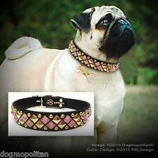 RN Design :: Glass Cab & Hand Studded Dog Collar :: LEATHER :: Made in USA