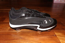 NEW Mens UNDER ARMOUR Natural III Low Baseball Steel Cleats Black/White Sz 8.5
