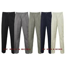 Mens New Elasticated Waist Rugby Trousers Casual Work Smart Pants