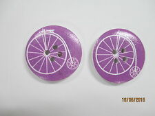 2 x 30mm Wooden Buttons PENNY FARTHING BICYCLE White on MAUVE 4 Holes No. 629