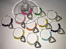 Baby Shower Wine glass charm Thank you gift of x 10 new present Silver hearts