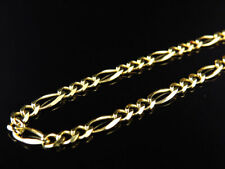 Solid 14K Yellow Gold 3MM Figaro Chain Necklace Lobster Clasp 16-26 Inches